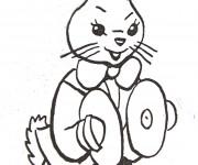 Coloriage et dessins gratuit Un lapin et instrument gratuit à imprimer