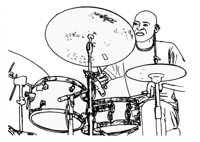 Coloriage un musicien joue du batterie dessin gratuit - Dessin musicien ...