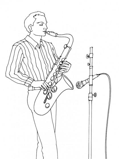 Coloriage un musicien joue du saxophone dessin gratuit - Dessin musicien ...