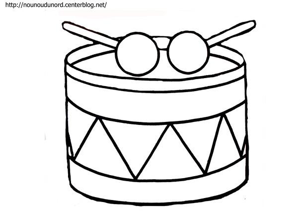 Coloriage et dessins gratuits Un tambour avec ses baguettes à imprimer