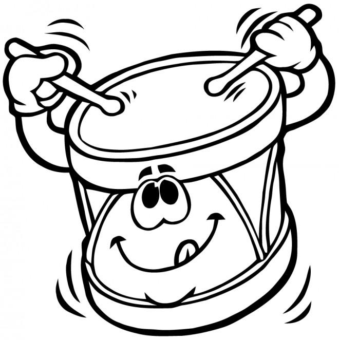 Coloriage et dessins gratuits Un tambour avec visage à imprimer