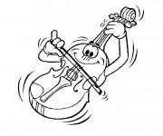 Coloriage et dessins gratuit Un violon joue de la musique à imprimer