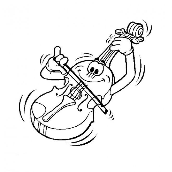 Coloriage Un violon joue de la
