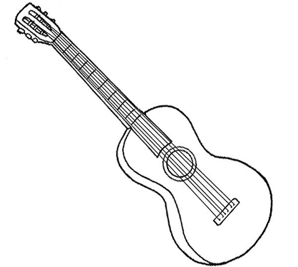 Coloriage et dessins gratuits Une guitare classique à imprimer