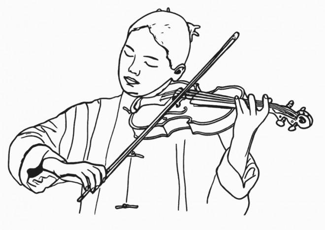 Dessin De Violon coloriage une musicienne joue du violon dessin gratuit à imprimer
