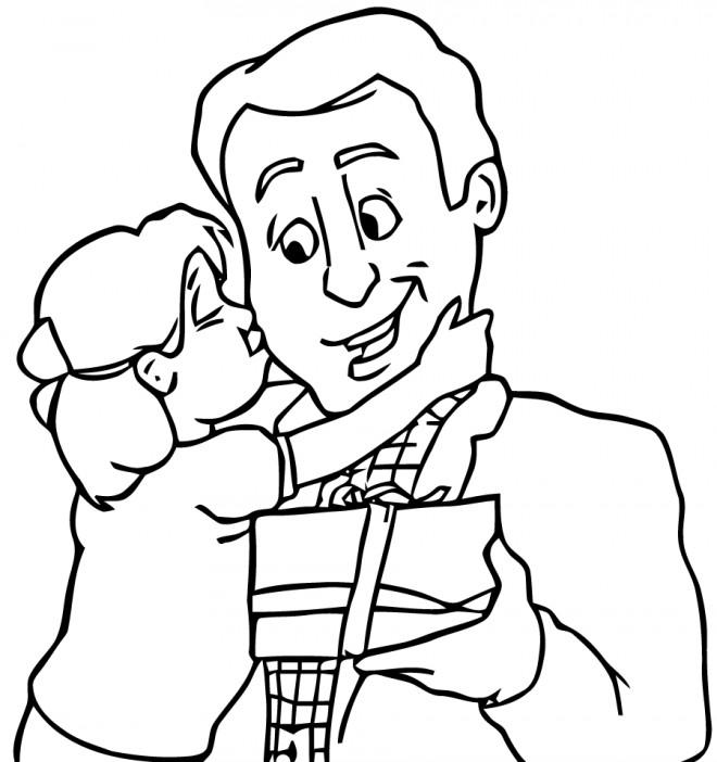 Coloriage et dessins gratuits Fille embrasse son père à sa fête à imprimer