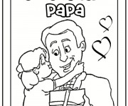 Coloriage et dessins gratuit La Fille exprime son amour a son Papa à imprimer