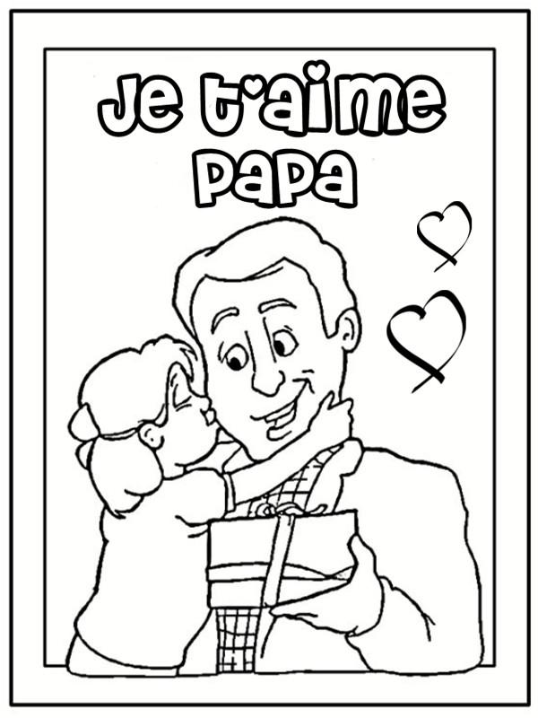 Coloriage et dessins gratuits La Fille exprime son amour a son Papa à imprimer
