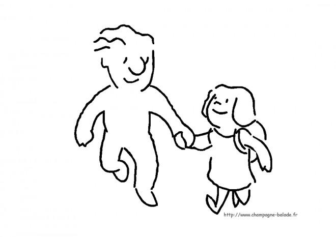 Coloriage et dessins gratuits Les enfants en route à l'école à imprimer