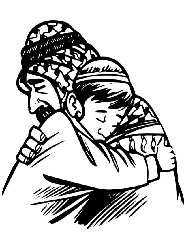 Coloriage et dessins gratuits Papa arabe et son fils à imprimer
