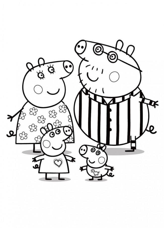 Coloriage papa cochon et sa famille dessin gratuit imprimer - Papa cochon a la piscine ...