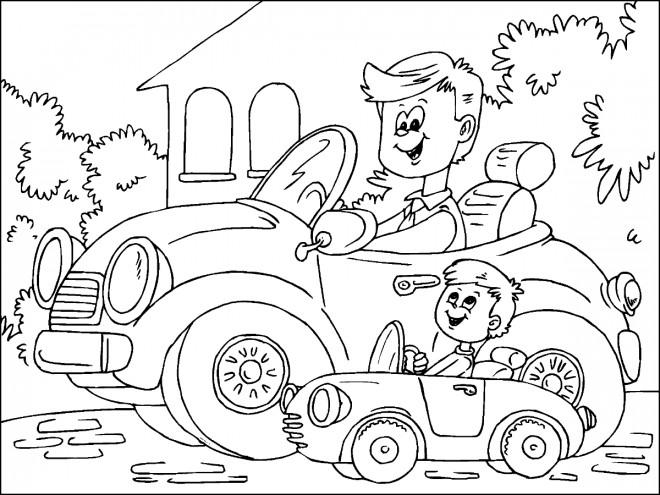 Coloriage et dessins gratuits Papa et fils dans leurs voitures drôle à imprimer