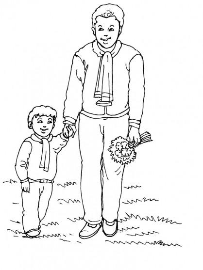Coloriage et dessins gratuits Papa et fils en plein air à imprimer
