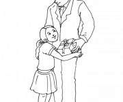 Coloriage et dessins gratuit Papa et sa fille à imprimer