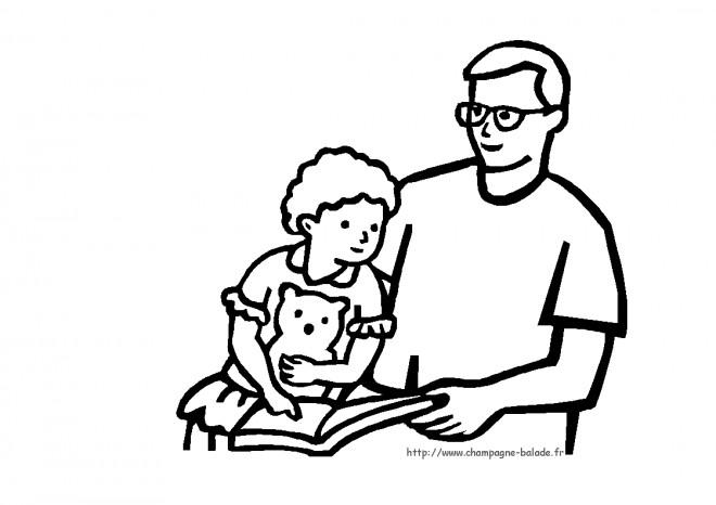 Coloriage et dessins gratuits Papa et sa fille lisent un livre à imprimer