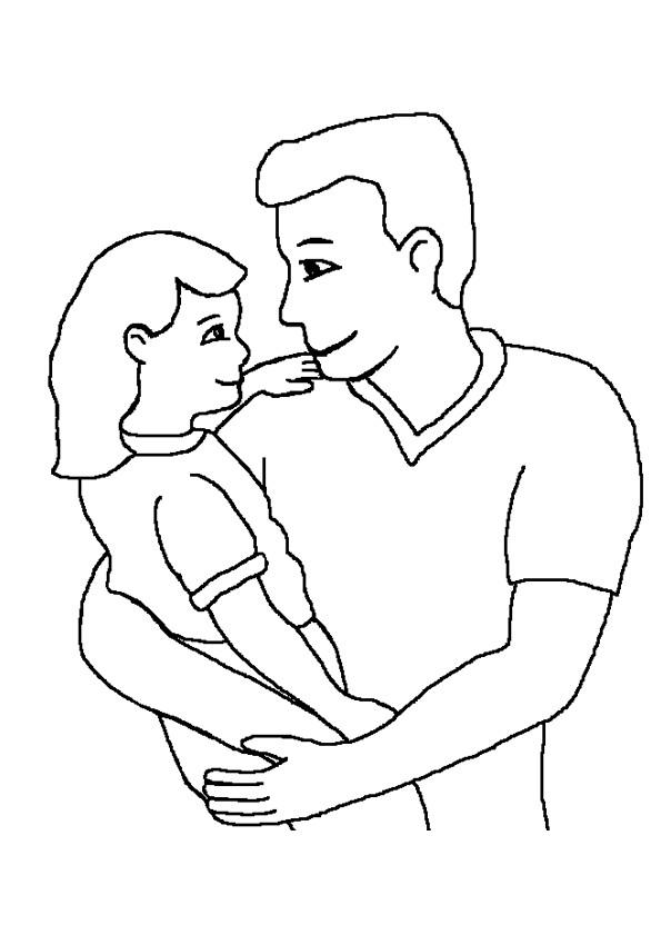 Coloriage et dessins gratuits Papa et sa petite fille à imprimer