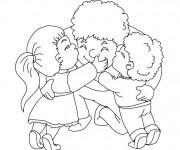 Coloriage et dessins gratuit Papa et ses enfants à imprimer