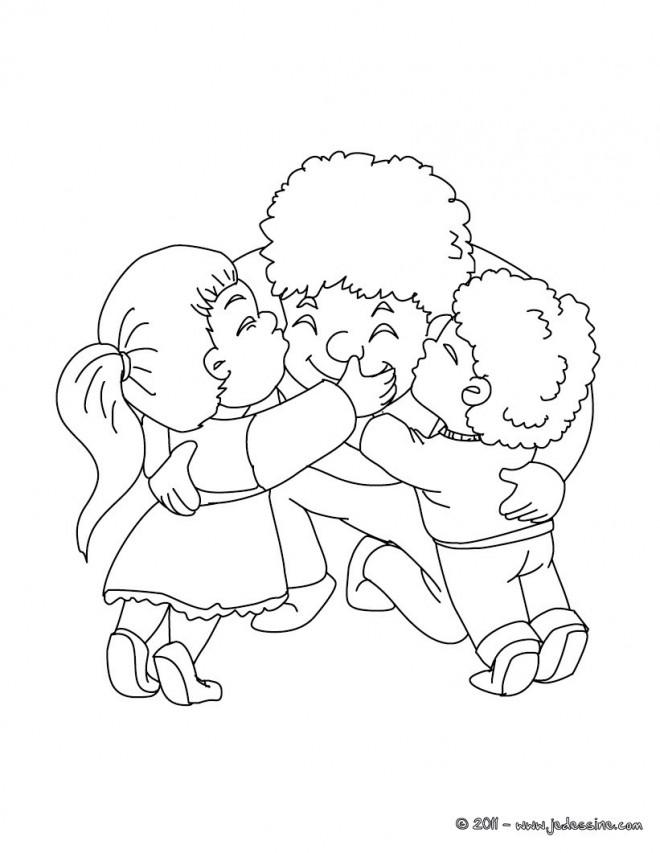 Coloriage et dessins gratuits Papa et ses enfants à imprimer