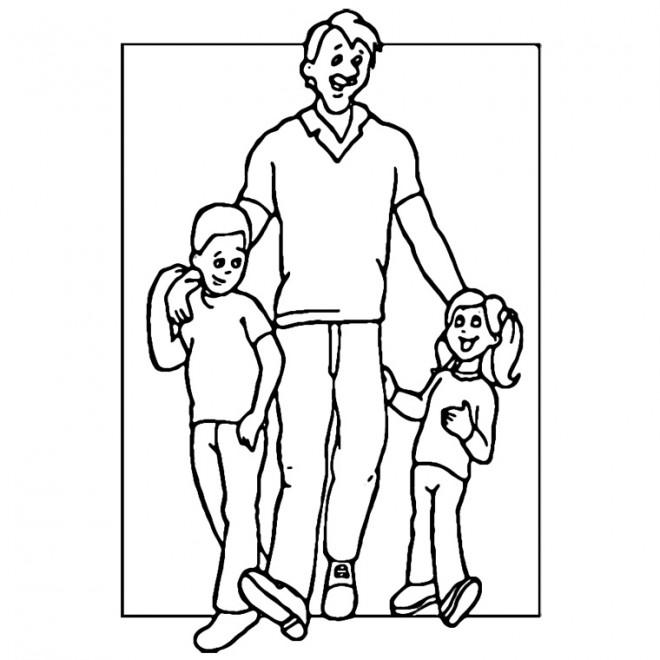 Coloriage et dessins gratuits Papa et ses enfants en couleur à imprimer