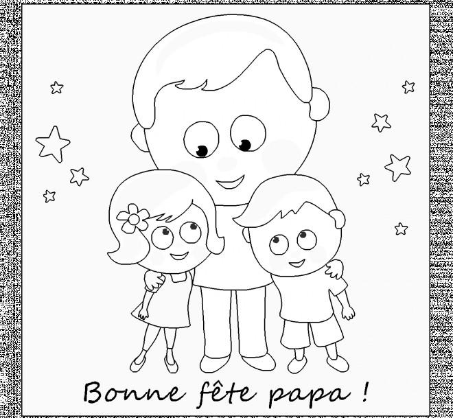 Coloriage et dessins gratuits Papa et ses enfants facile à imprimer