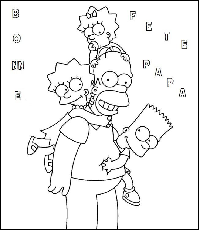 Coloriage et dessins gratuits Papa Homer et ses filles à imprimer