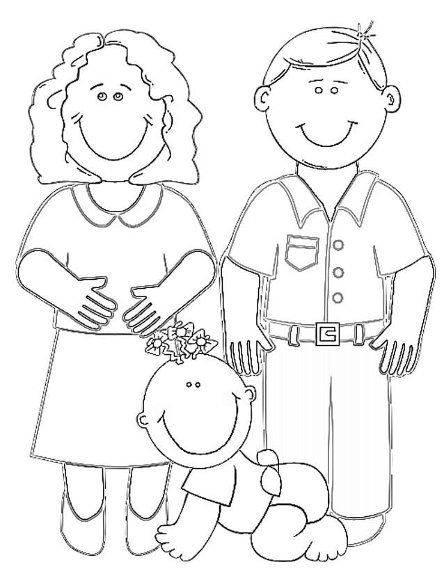 Coloriage Papa Maman Et Bébé Dessin Gratuit à Imprimer