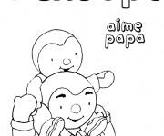 Coloriage et dessins gratuit tchoupi aime papa à imprimer