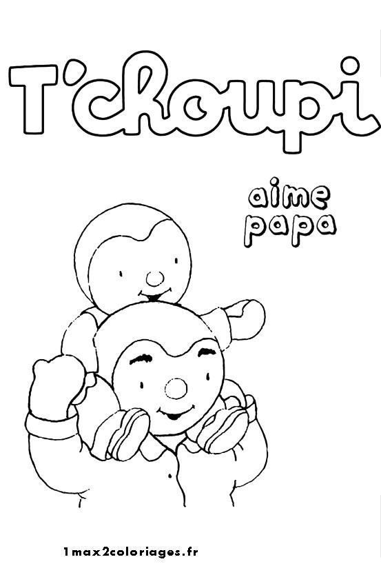 Coloriage et dessins gratuits tchoupi aime papa à imprimer