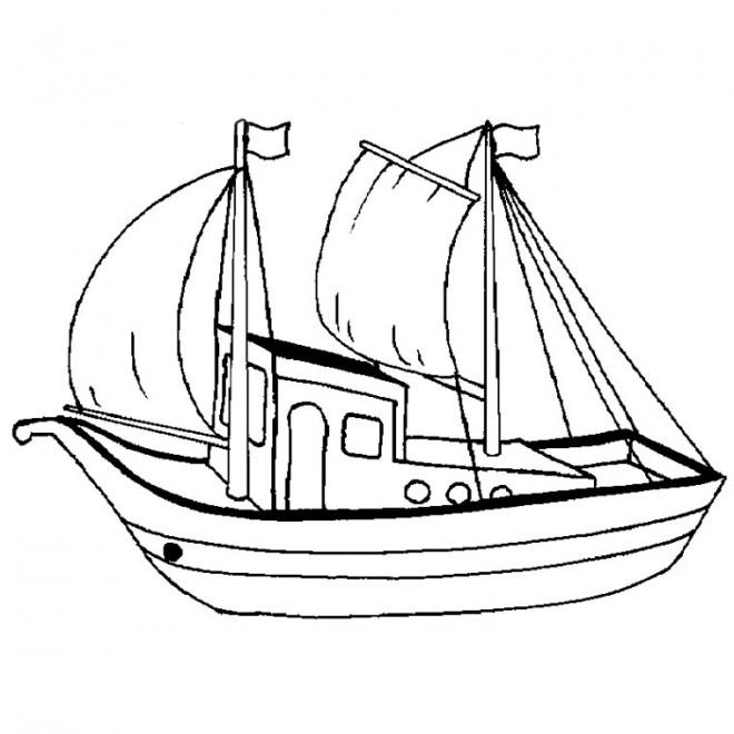 Coloriage et dessins gratuits Barque de Pêche à imprimer