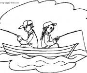 Coloriage et dessins gratuit Barque de pêcheur à imprimer