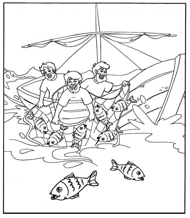 Coloriage et dessins gratuits Bateau de pêche facile à imprimer