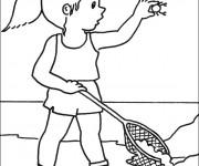 Coloriage Dessin de pêcheur fille
