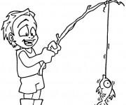 Coloriage Enfant pêche