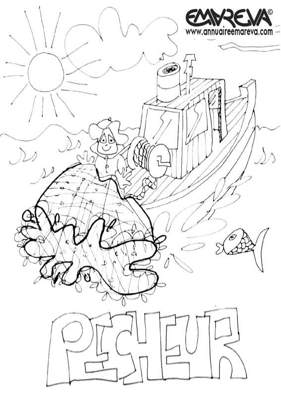 Coloriage et dessins gratuits Filet de pêche facile à imprimer