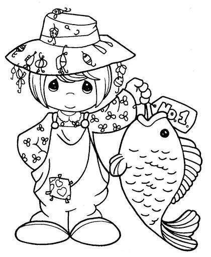 Coloriage et dessins gratuits Fille mignonne pêcheur à imprimer