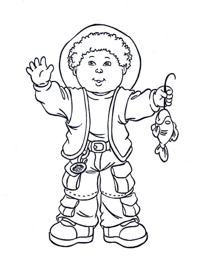 Coloriage et dessins gratuits Garçon pêcheur à imprimer