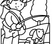 Coloriage et dessins gratuit Jeune pêcheur rivière à imprimer
