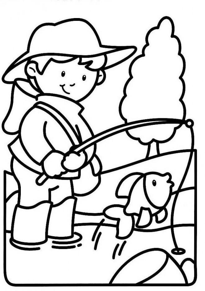 Coloriage et dessins gratuits Jeune pêcheur rivière à imprimer