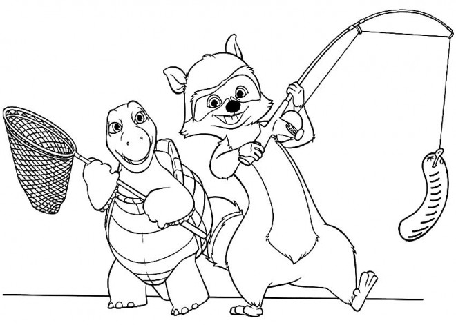 Coloriage et dessins gratuits Les animaux Pêcheurs à imprimer