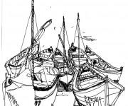 Coloriage Les barque de pêche
