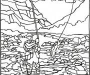 Coloriage Loisir de pêche