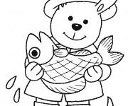 Coloriage Ours pêcheur