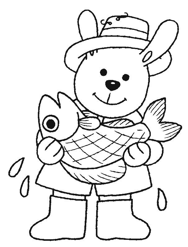 Coloriage et dessins gratuits Ours pêcheur à imprimer