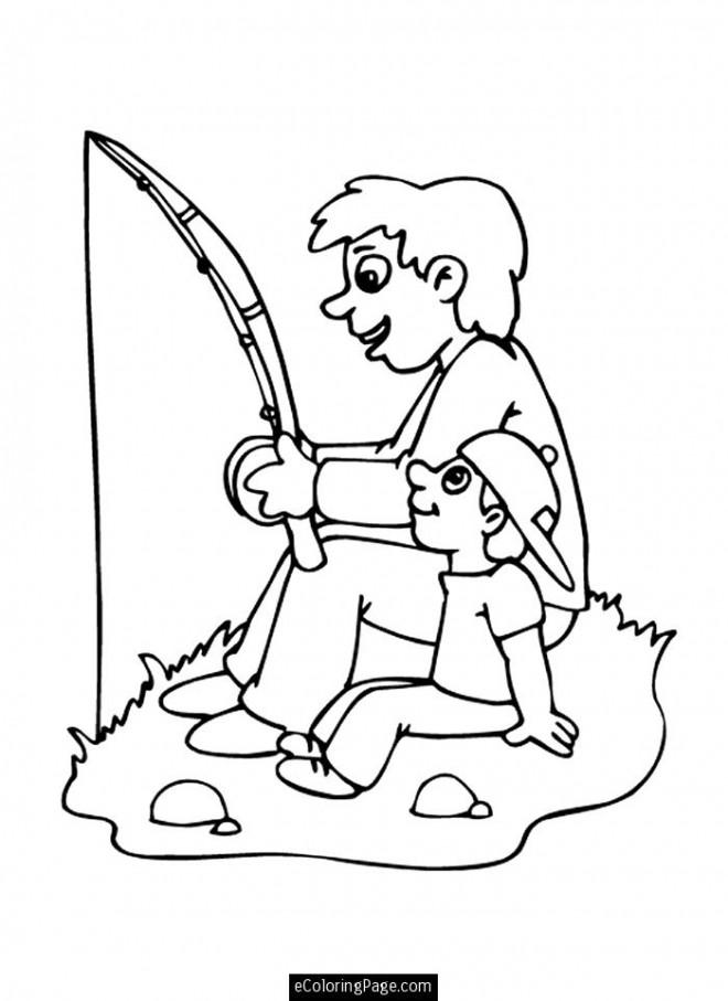 Coloriage et dessins gratuits Papa pêcheur et son fils à imprimer