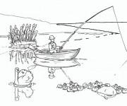Coloriage et dessins gratuit Paysage de pêche à imprimer
