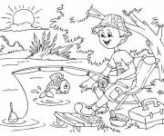Coloriage et dessins gratuit pêche à la ligne dessin à imprimer
