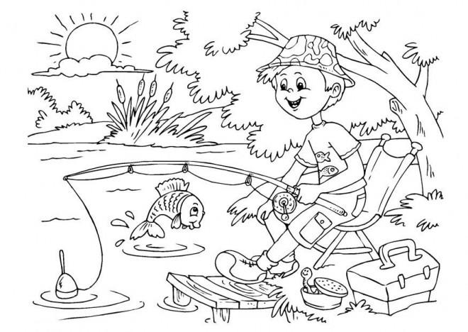 Coloriage p che la ligne dessin dessin gratuit imprimer - Dessin pecheur ...