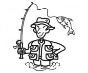 Coloriage et dessins gratuit Pêcheur à la ligne à imprimer