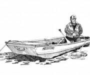 Coloriage Pêcheur attendant un poisson