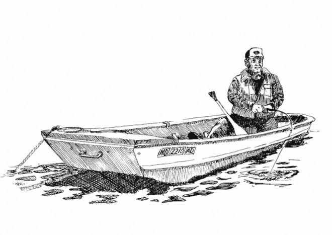 Coloriage et dessins gratuits Pêcheur attendant un poisson à imprimer